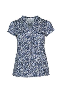 T-Shirt aus kühlem Material mit Blümchendruck, Indigo
