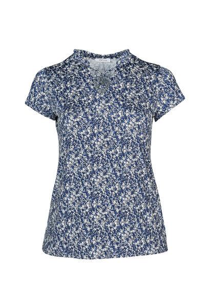 T-Shirt aus kühlem Material mit Blümchendruck - Indigo