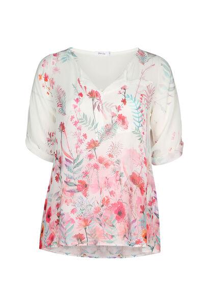 Bluse mit Blumenmuster und Strassverzierung - Fuchsie