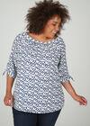 Mit Herzen bedruckte Bluse, naturfarben