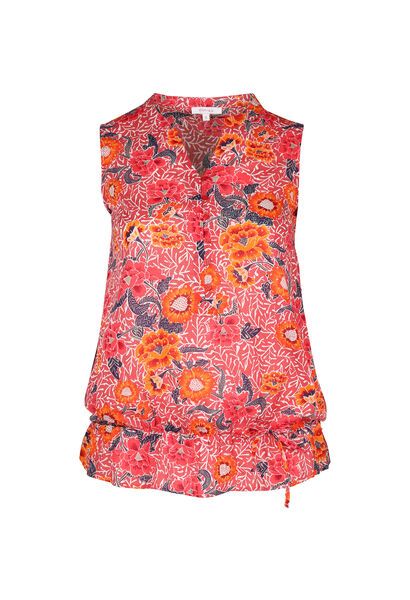 Geraffte Bluse mit floralen Motiven - Orange