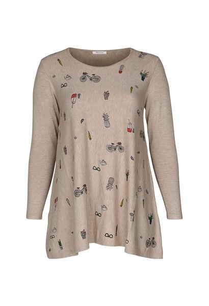 Tunika-Pullover mit Aufdruck - Beige