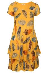 Kleid mit Feder-Print
