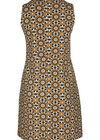 Kleid aus Kreppstoff mit Retro-Blumen-Print, ocker