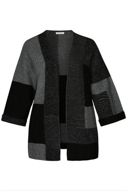 Langer Colour-Block-Cardigan, Schwarz
