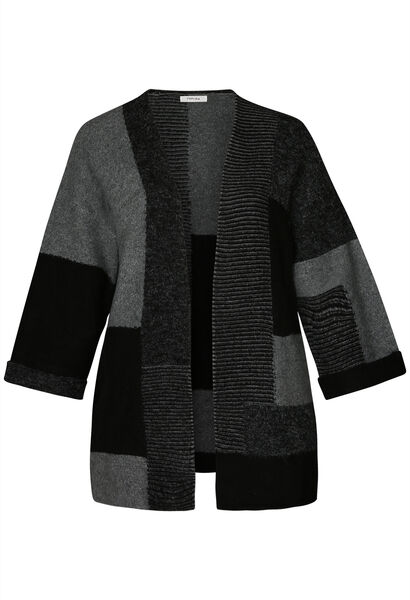 Langer Colour-Block-Cardigan - Schwarz