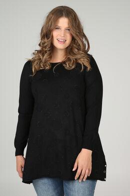 Pullover mit kreisförmigem Print und Strass, Schwarz