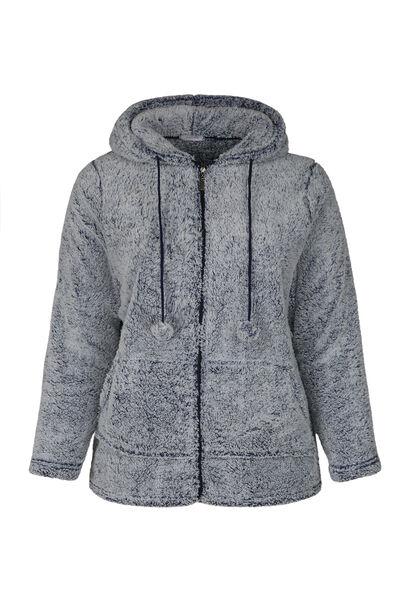 Homewear-Jacke mit Kapuze und Quasten - Grau