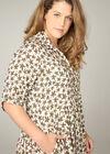 Hemdkleid mit Blattmuster-Print, naturfarben