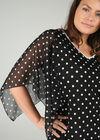 T-Shirt mit Tupfendruck und Perlen am V-Ausschnitt, Schwarz