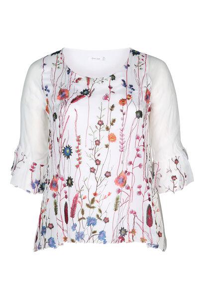 Bluse mit 3/4-Ärmeln mit Rüschen - Multicolor