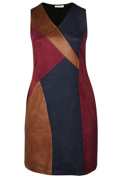 Patchwork-Kleid aus Leder- und Wildlederimitat - Pflaume