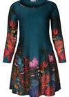 Bedrucktes Kleid aus warmem Material mit tropischem Aufdruck, Türkis dunkel