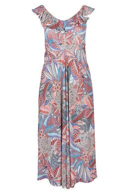 Langes Kleid mit Ethno-Print, Multicolor
