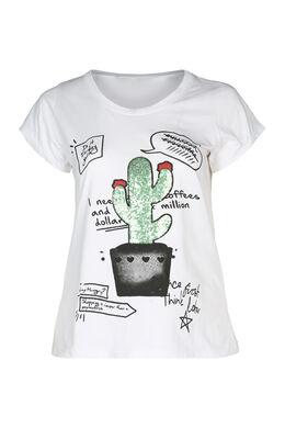 T-Shirt mit Kaktus-Aufdruck und Pailletten, weiß