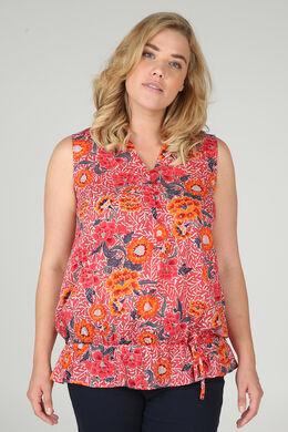 Geraffte Bluse mit floralen Motiven, Orange