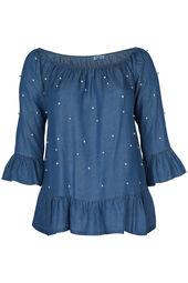 Bluse aus Lyocell mit elastischem Ausschnitt und Perlen