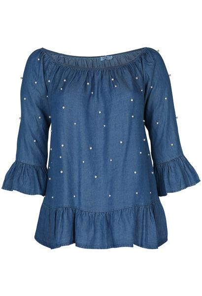 Bluse aus Lyocell mit elastischem Ausschnitt und Perlen - Denim
