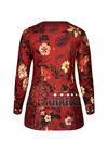 Mit großen Blumen bedrucktes Tunika-T-Shirt, Ziegel