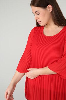 Bluse aus plissiertem Voile, Rot