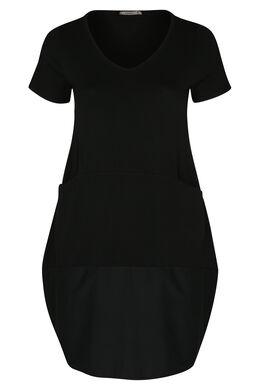 Kleid aus Strick und Baumwolle mit Balloneffekt im Rockteil, Schwarz