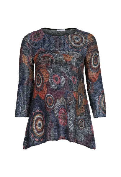 Flauschiger Tunika-Pullover - Multicolor