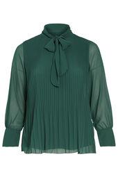 Plissee-Bluse mit Schluppenkragen
