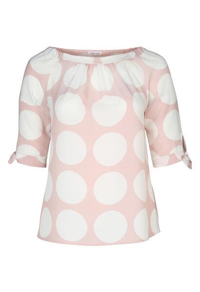 Mit großen Tupfen bedruckte Bluse aus Voile - Rosa
