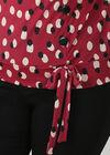Bluse mit Wickeleffekt im Tupfendruck, Bordeaux