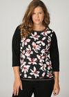 T-Shirt aus Material-Mix mit Blumen-Print, Schwarz