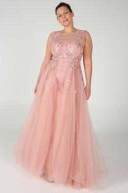 Märchenhaftes Kleid mit Stickerei und Perlen, Rosa