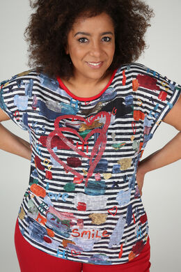 Mit Streifen bedrucktes T-Shirt aus feinem Leinenstrick, Multicolor