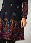 Kleid mit Blumen-Print und halsfernem Rollkragen, Multicolor
