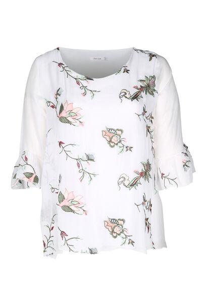 Mit Blumen bestickte Bluse - weiß