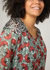 Bluse mit Leoparden- und Blumen-Print, Grün