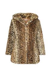 Mantel aus Kunstpelz mit Leoparden-Muster