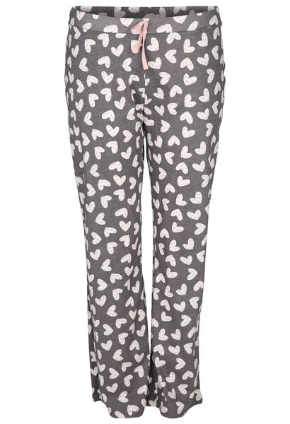 Pyjama-Hose mit Herzchen-Print - Grau