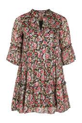 Kleid mit Blumen- und Goldfolien-Print