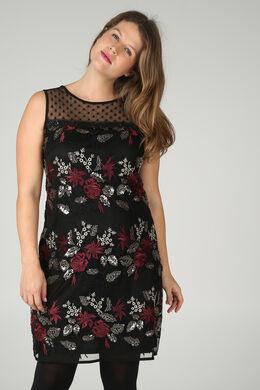 Kleid aus Mesh-Stoff mit Stickerei, Pflaume