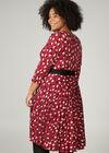 Kleid mit Wickeleffekt und Tupfendruck, Bordeaux