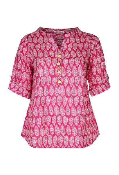 Bluse mit Federaufdruck - Fuchsie