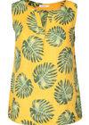 Bluse aus Leinenstoff mit Palmblätter-Print, ocker