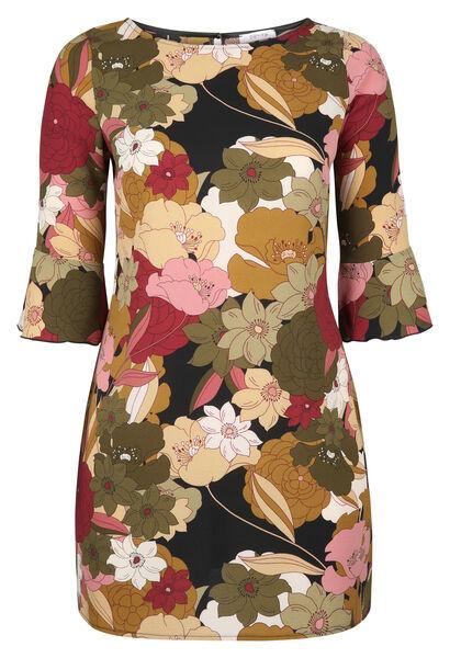 Mit großen Blumen bedrucktes Kleid in entspannter Passform - Khaki
