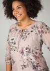 Bluse mit Blumenaufdruck und besticktem Kragen, zartrosa