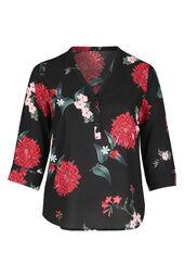 Bluse mit Blumen-Print und Knöpfen am V-Ausschnitt