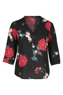Bluse mit Blumen-Print und Knöpfen am V-Ausschnitt, Schwarz