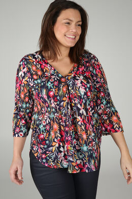 T-Shirt mit Blumen-Print, Multicolor