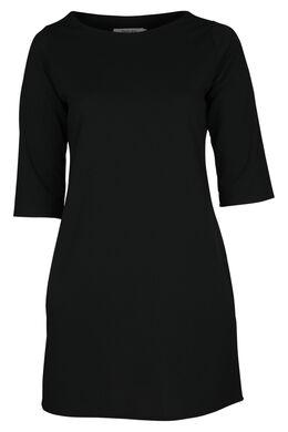 Kleid aus einfarbigem Krepp, Schwarz