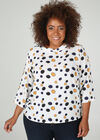 Tupfendruck-Bluse mit großzügigem Kragen, naturfarben