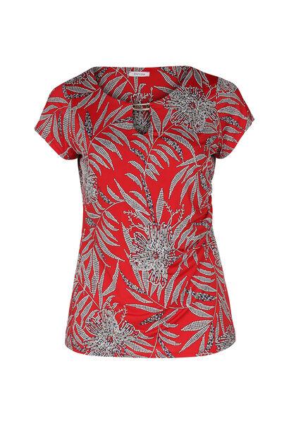 Mit Blättern bedrucktes T-Shirt aus kühlem Material - Rot